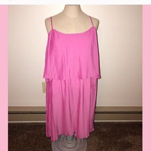 Pink pleated summer dress